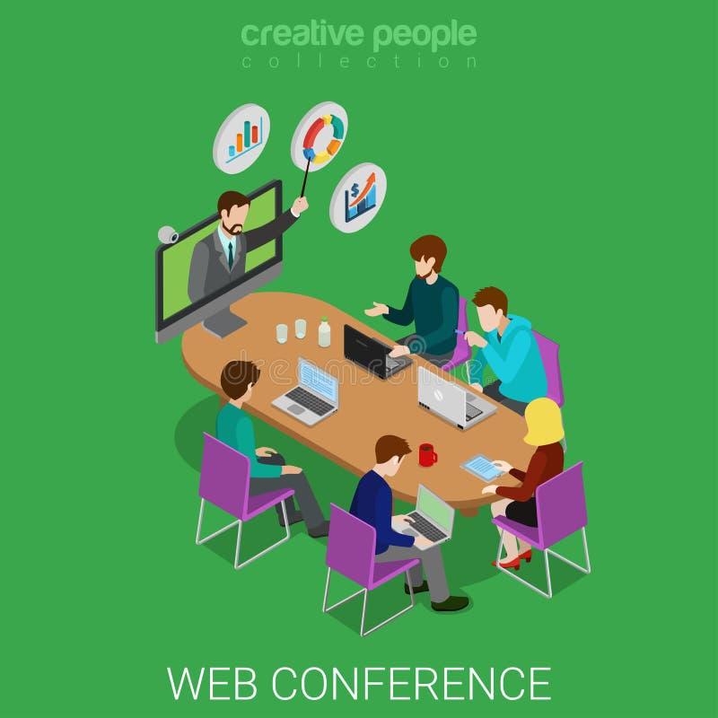 Sala de reunião isométrica da educação em linha webinar da conferência da Web ilustração do vetor