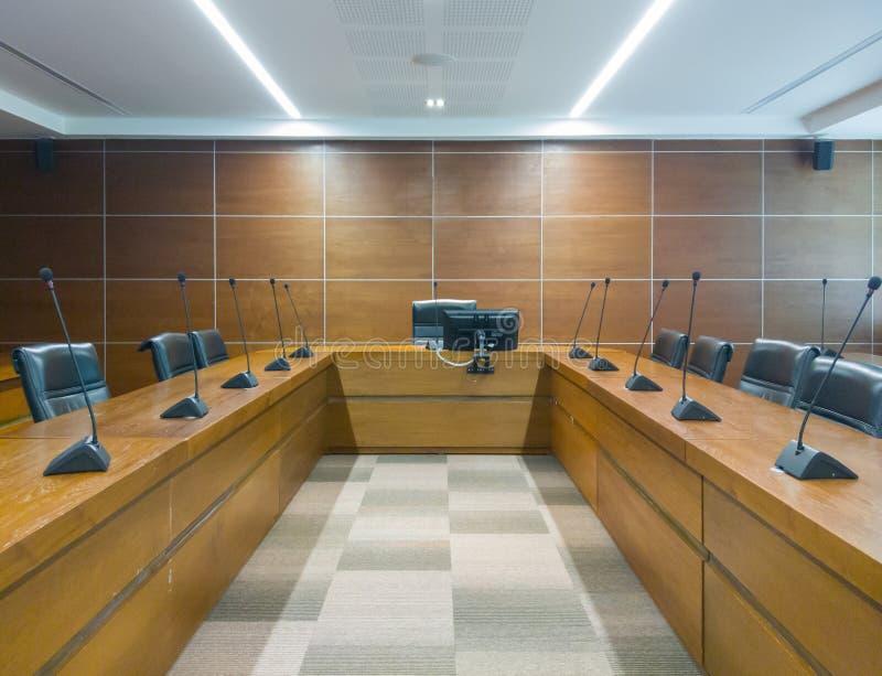 Sala de reunião vazia pelo tempo da conferência fotografia de stock