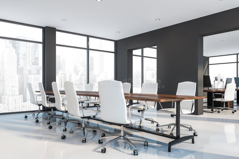 Sala de reunión brillante gris del piso con el espacio abierto ilustración del vector