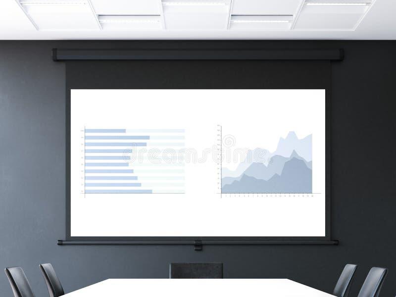 Sala de reunión con la pantalla de proyector del rollo-para arriba representación 3d libre illustration