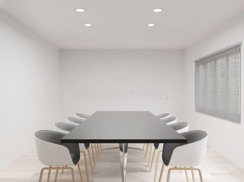 sala de reunión con las sillas, falsas para arriba, espacio de la copia ilustración del vector