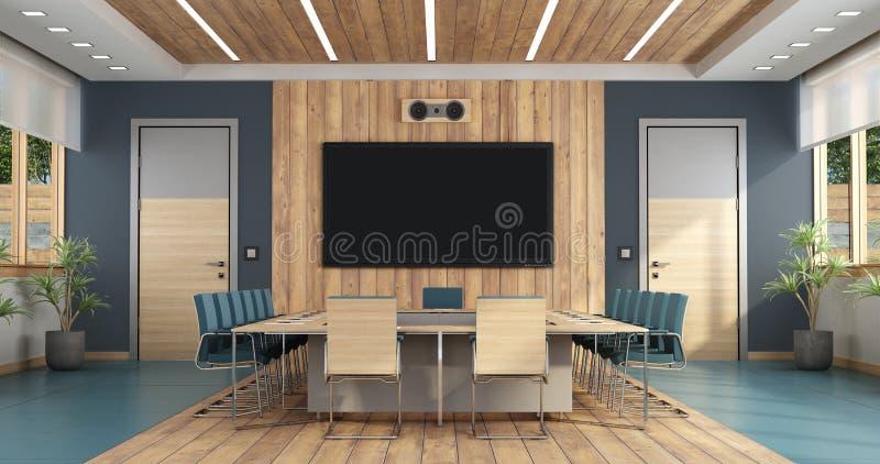 Sala de reuni?n elegante con la mesa de reuniones grande - representaci?n 3d stock de ilustración