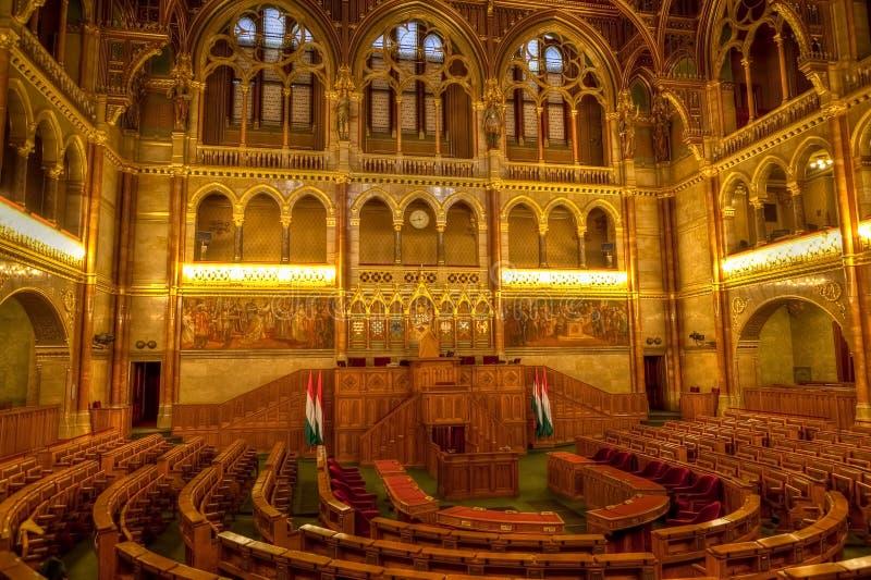 Sala de reunión húngara de Budapest del parlamento fotografía de archivo libre de regalías