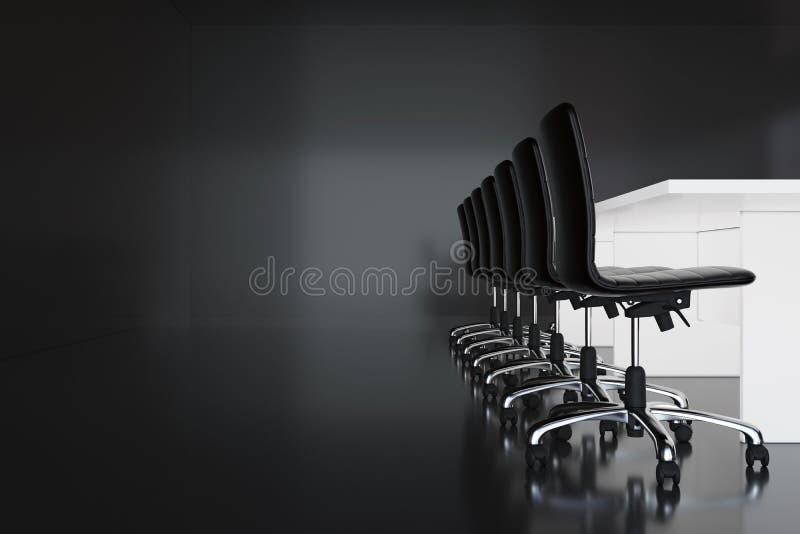Sala de reunión de la oficina con las paredes negras, el piso, la tabla blanca larga con las sillas y el cartel horizontal en la  stock de ilustración
