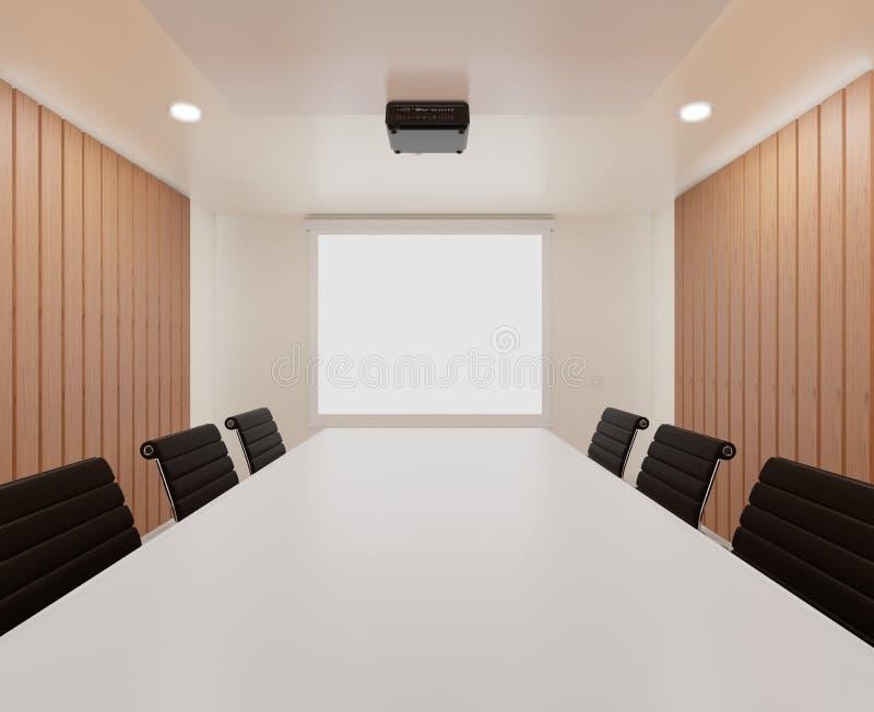 sala de reunión de la representación 3D con las sillas, tabla blanca, alfombra, mofa para arriba, espacio de la copia stock de ilustración
