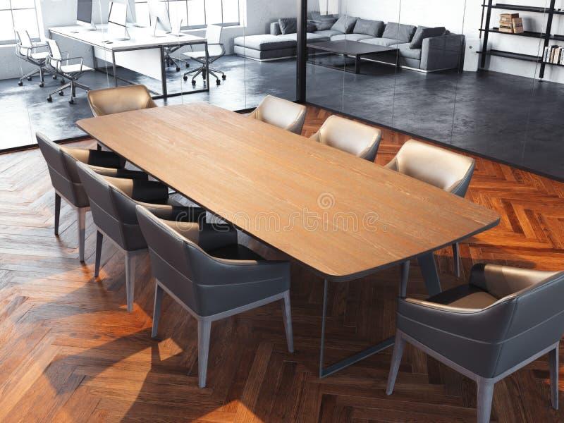 Sala de reunión moderna de la oficina con las paredes de cristal transparentes, representación 3d libre illustration