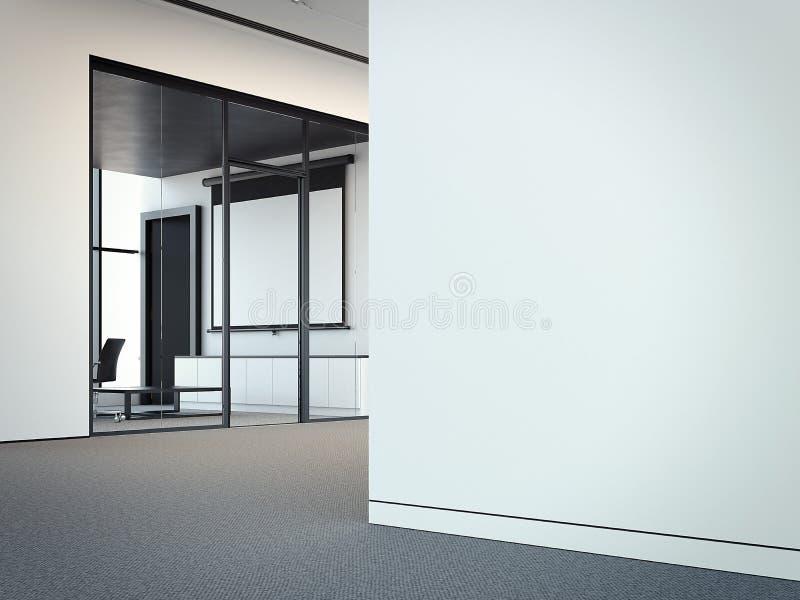 Sala de reunión moderna de la oficina con las paredes de cristal transparentes, representación 3d ilustración del vector