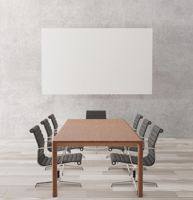 Sala de reunión vacía con las sillas, tabla de madera, piso de madera, muro de cemento, cartel para la mofa para arriba, represen imagen de archivo