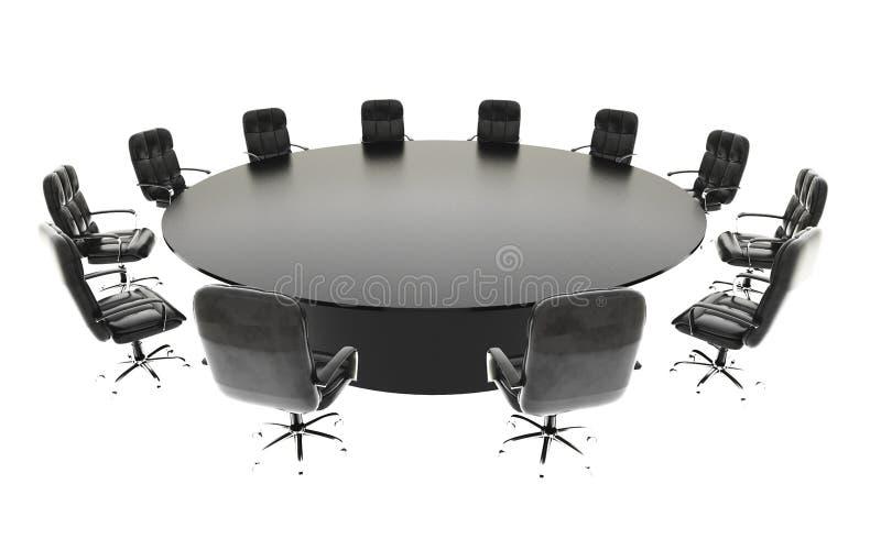 Sala de reuniões, sala de reunião e tabela e cadeiras de conferência Conceito do negócio rendição do isolado 3d ilustração royalty free