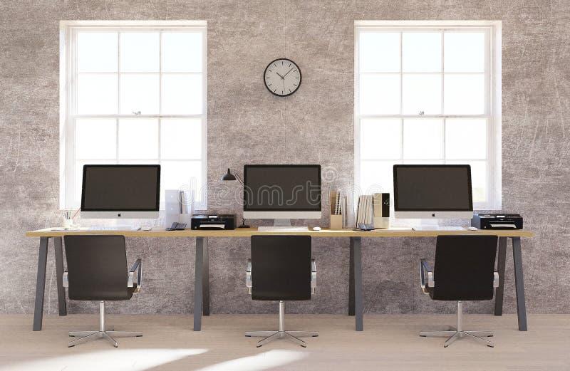sala de reuni?n de la representaci?n 3D con las sillas, tabla de madera, falsa para arriba, espacio de la copia stock de ilustración
