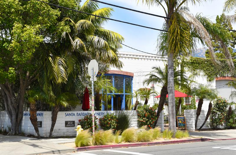 Sala de Santa Barbara Winery Tasting na rua de Anacapa na zona do centro do funk imagens de stock