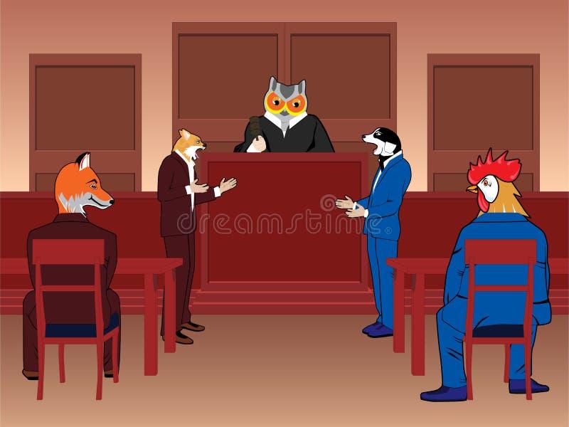 Sala de tribunal animal ilustración del vector
