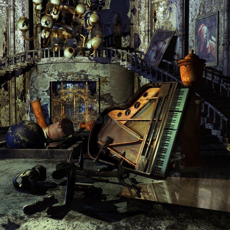Sala de um castelo abandonado ilustração do vetor