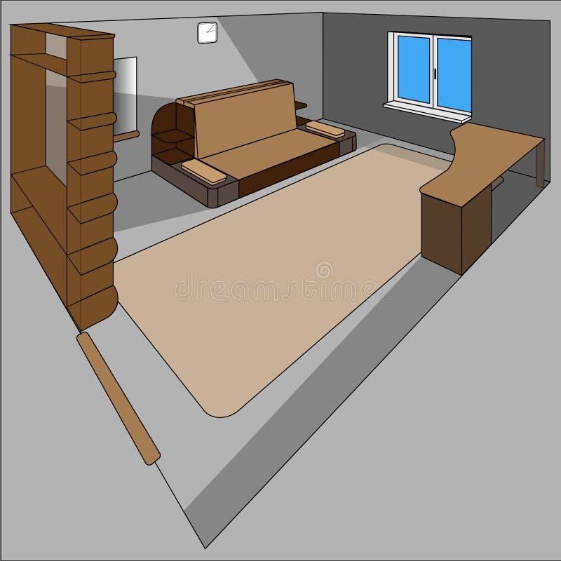 Sala de uma casa no cutaway - interior isométrico ilustração stock