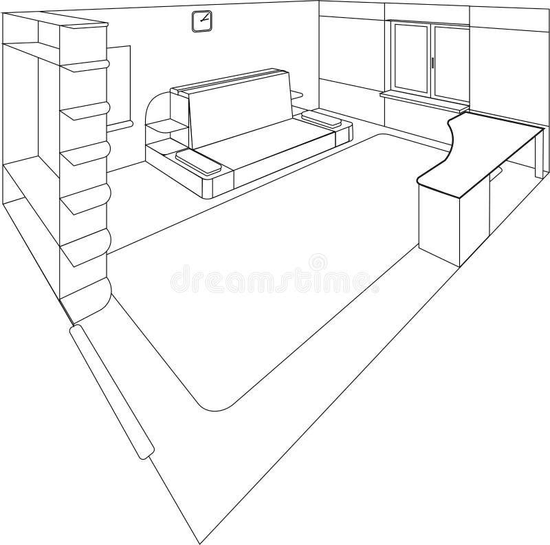 Sala de uma casa no cutaway - interior isométrico ilustração do vetor