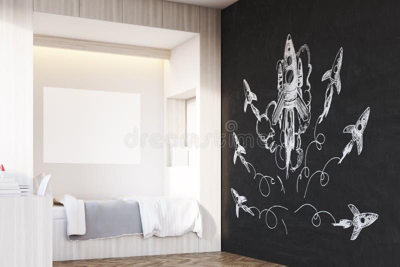 Sala de uma criança, canto, foguete ilustração royalty free
