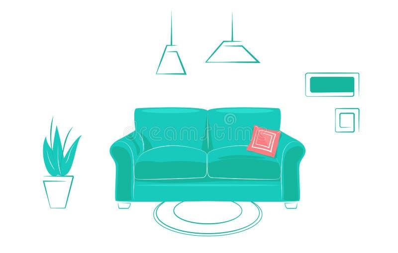 Sala de vida confortável interior em design plano linear, estilo de moda Conceber modelo de site de propriedades Verde ilustração do vetor