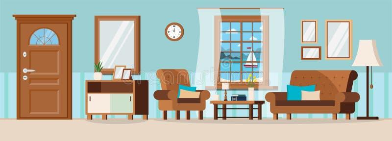 Sala de visitas acolhedor com mobília, a porta fechado, a ideia da janela do seascape do verão e o veleiro ilustração royalty free