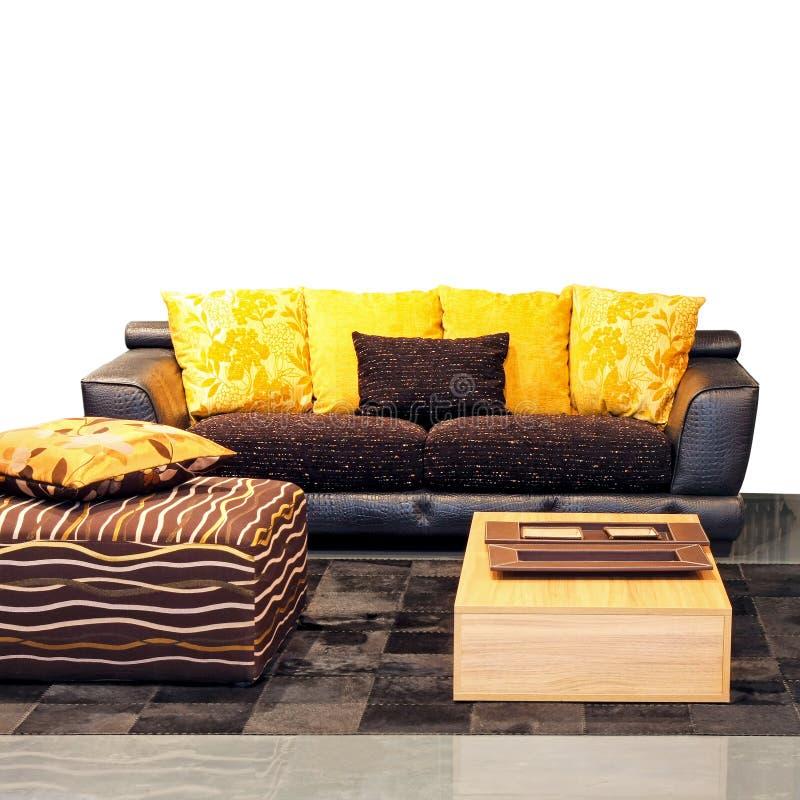 Sala de visitas amarela fotografia de stock royalty free
