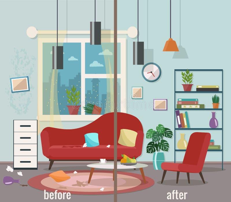 Sala de visitas antes e depois da limpeza ilustração stock
