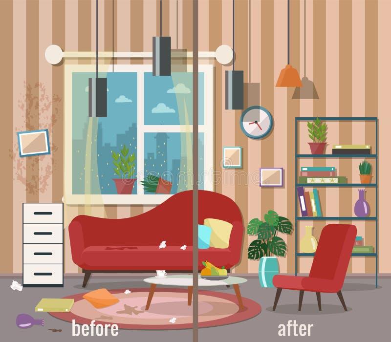 Sala de visitas antes e depois da limpeza ilustração do vetor