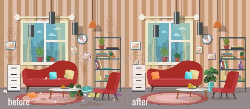 Sala de visitas antes e depois da limpeza ilustração royalty free