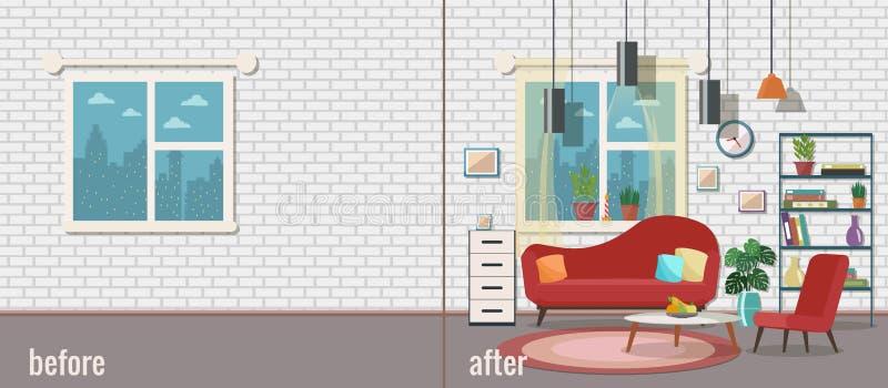 Sala de visitas antes e depois do equipamento Ilustração do vetor Projeto liso ilustração royalty free