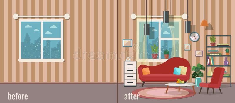 Sala de visitas antes e depois do equipamento Ilustração do vetor Projeto liso ilustração do vetor