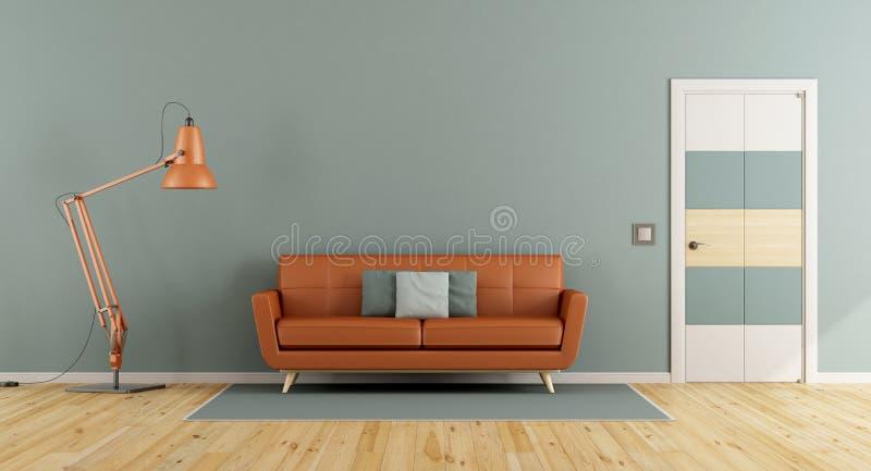 Sala de visitas azul com sofá alaranjado ilustração royalty free