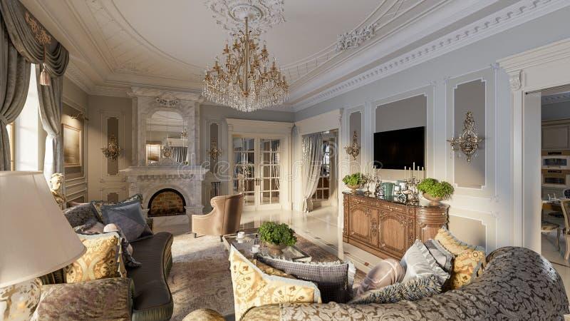 Sala de visitas barroco luxuoso ilustração do vetor