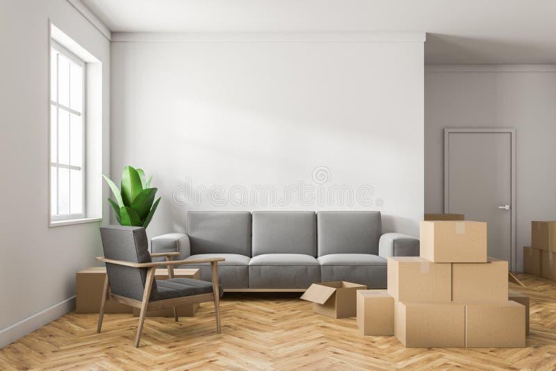 Sala de visitas branca com caixas ilustração stock