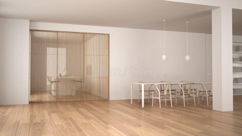 Sala de visitas branca e de madeira minimalista com mesa de jantar, porta deslizante e cozinha, assoalho de parquet e lâmpada de  ilustração royalty free