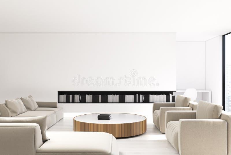 Sala de visitas branca interior, sofá bege ilustração do vetor
