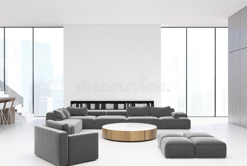 Sala de visitas branca interior, sofás cinzentos ilustração stock