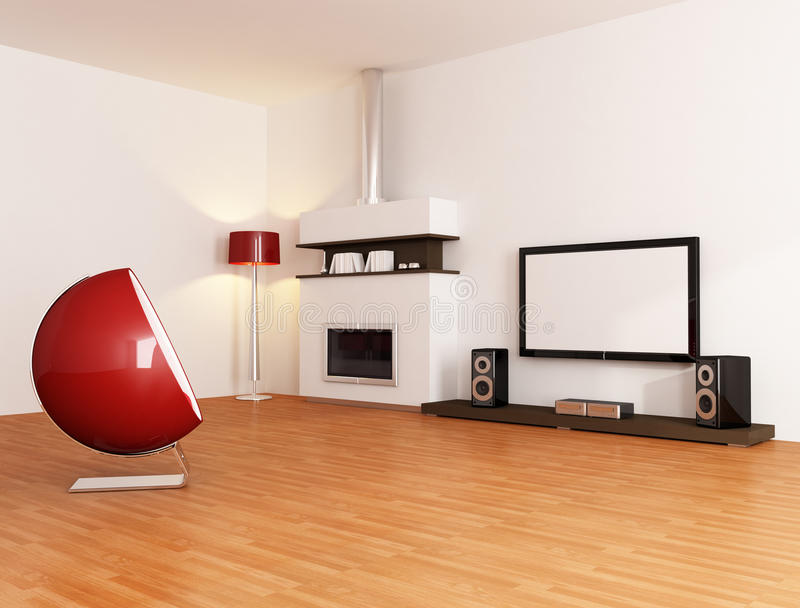 Sala de visitas branca minimalista ilustração stock