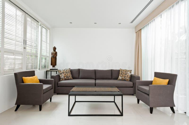 Sala de visitas brilhante com sofá cinzento imagem de stock