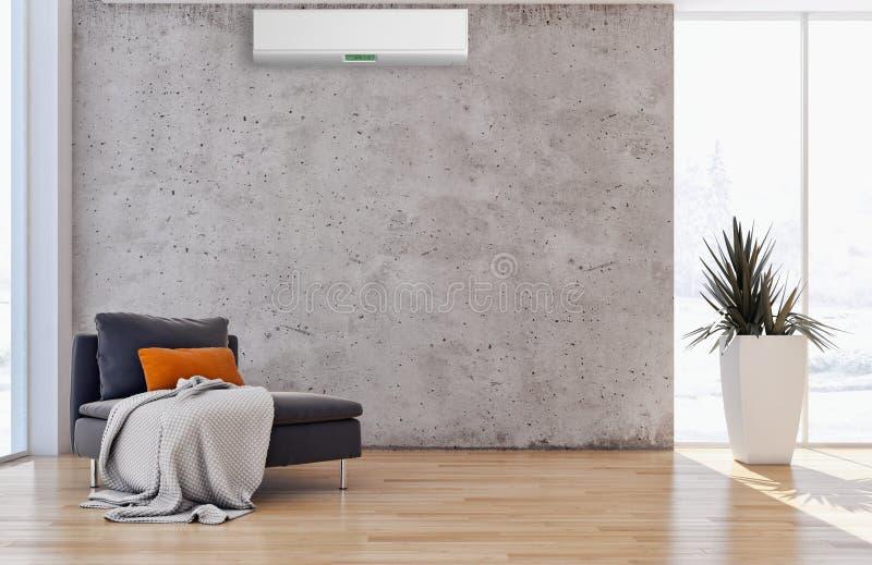 Sala de visitas brilhante moderna do apartamento dos interiores com condição do ar ilustração do vetor