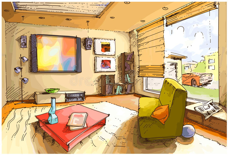 Sala de visitas clara ilustração royalty free