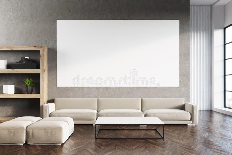 Sala de visitas com cartaz, madeira ilustração stock