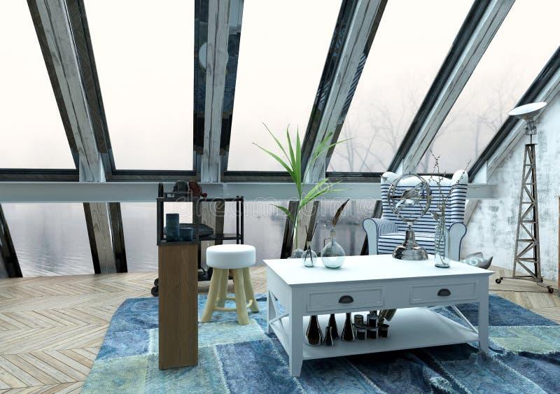 Sala de visitas com grande Windows e a decoração moderna ilustração royalty free