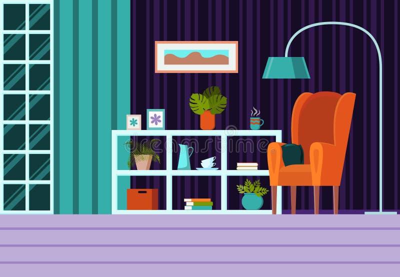 Sala de visitas com mobília, janela, cortinas Ilustração lisa moderna do vetor do estilo dos desenhos animados Fundo interior com ilustração royalty free