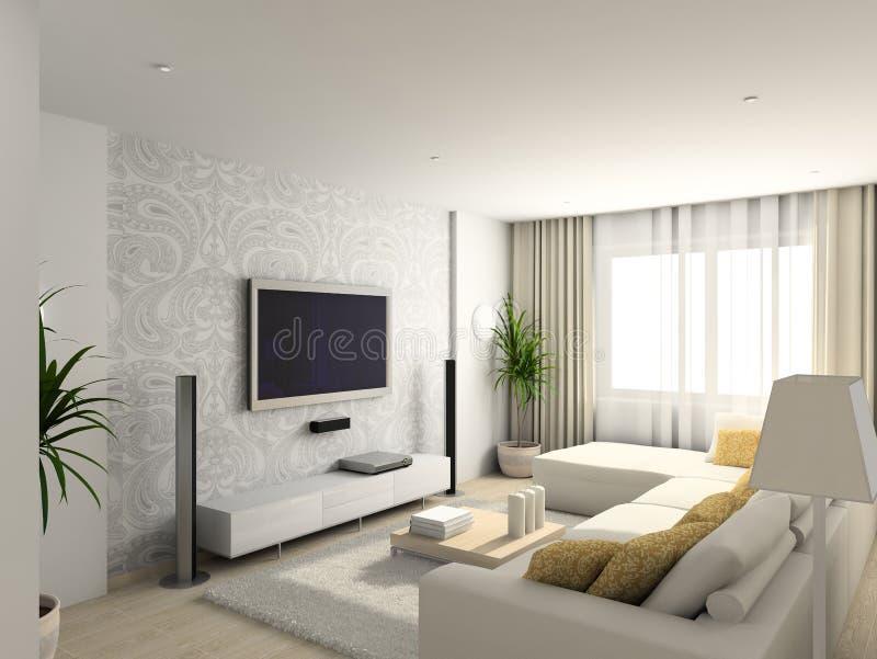 Sala de visitas com a mobília moderna