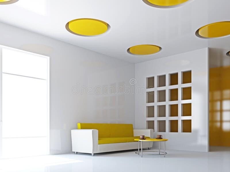 A sala de visitas com sofá amarelo ilustração royalty free