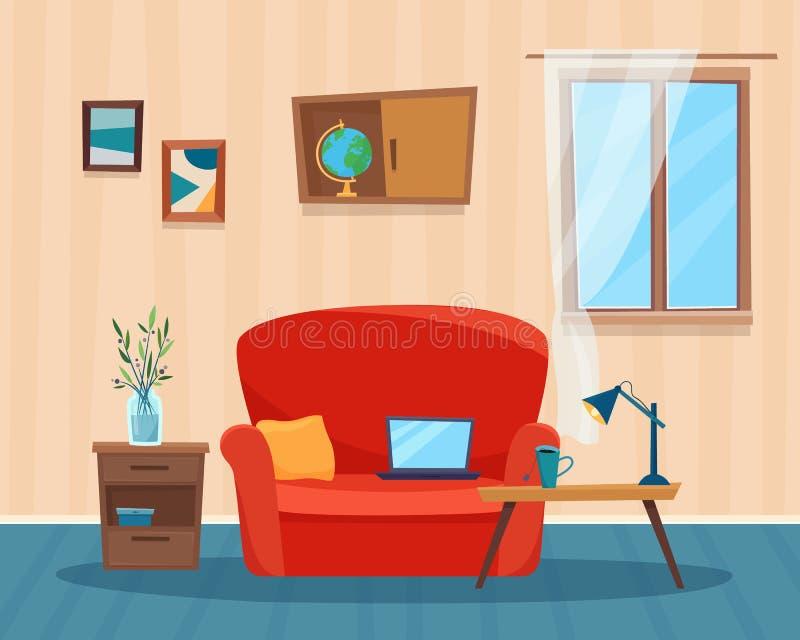 Sala de visitas com sofá, computador e tabela ilustração stock