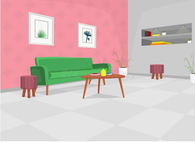 Sala de visitas com sofá verde, tabela, e construído nas prateleiras/na sala de visitas acolhedor ilustração dos desenhos animado ilustração do vetor