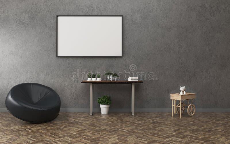Sala de visitas com a umas placa branca e tabela Espaço do conforto no apartamento Design de interiores do vintage ilustração stock