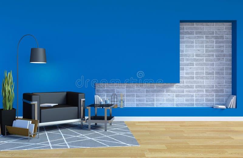Sala de visitas contemporânea moderna interior com espaço azul da parede e da cópia na parede para a zombaria acima ilustração stock
