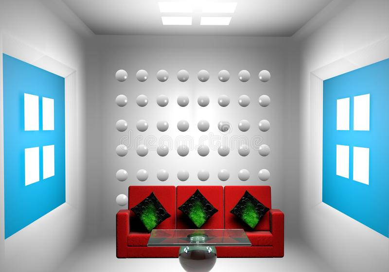 sala de visitas 3d do desenho ilustração do vetor