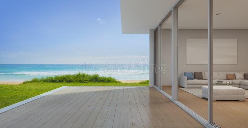 Sala de visitas da opinião do mar com o terraço vazio na casa de praia luxuosa moderna, casa de férias para a família grande ilustração do vetor