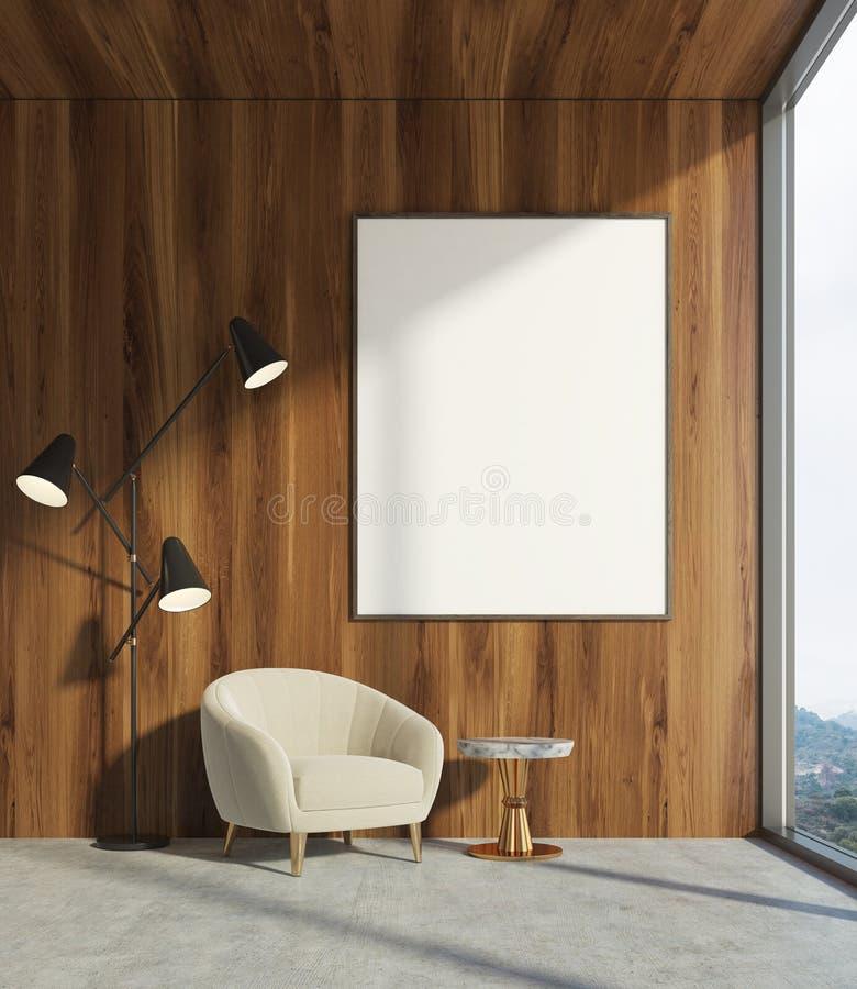 Sala de visitas de madeira, poltrona branca, cartaz ilustração do vetor